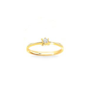 Złoty pierścionek zaręczynowy z kamieniem