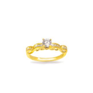 Pierścionek zaręczynowy z żółtego złota