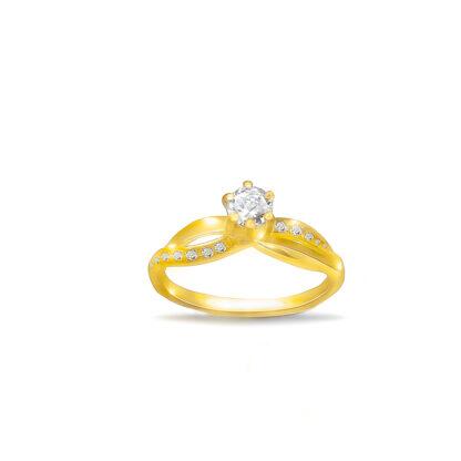 Złoty pierścionek zaręczynowy z jednym kamieniem