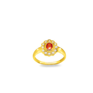 Złoty pierścionek z bursztynem
